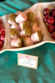 Gold dipped marshmallows from Glamorous Unicorn Birthday Party at Kara's Party Ideas. See the whole party at karaspartyideas.com!