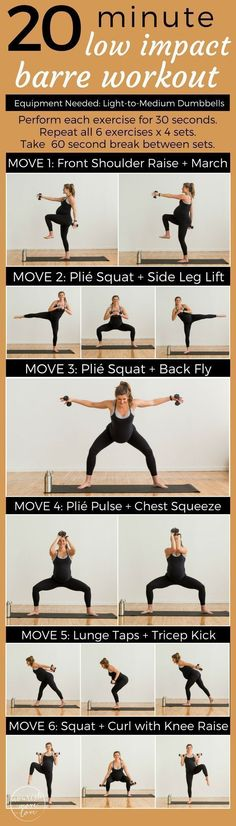 A low impact barre workout perfect for everyone; pregnant, postpartum, bad knees, or just need a low impact workout to sculpt and tone at home. A 20 minute workout that's easy on the knees but challenges your fitness. Combines traditional barre movements #pregnantworkout