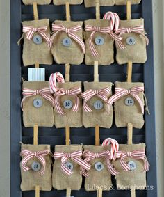 Clip burlap bags to a louvered door to make the perfect easy no-sew advent calendar!