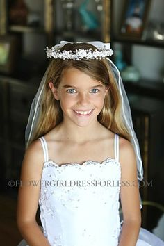 Communion Veil Style- VL5079 Floral Headpiece Adorned with Beads with Veil $29.99
