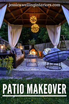 This covered outdoor living room on a budget is a relaxing and romantic, with modern bohemian decor. Outdoor Decor, Cozy Patio, Living Room On A Budget, Outdoor Lighting Design, Cozy Backyard, Outdoor Living Room, Diy Outdoor Lighting, Outdoor Living, Living Room Reveal