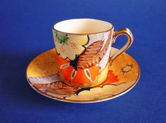 Gray's Pottery Art Deco Floral Design A2112 Coffee Can and Saucer c1934