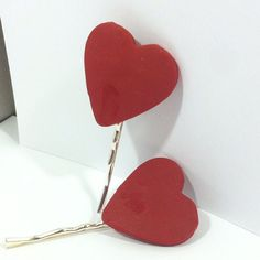 Valentine Hair pin Heart-shaped hair barrette by LizTaylorDesigns
