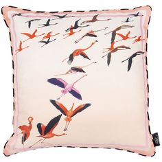 Bivain - Flamingo Peach Silk Cushion (825 CNY) ❤ liked on Polyvore featuring home, home decor, throw pillows, flamingo throw pillow, silk accent pillows, stripe throw pillows, peach throw pillows and bird home decor