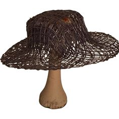 c0e10751f24 Miniature Grey blue Straw Wide-Brimmed Hat and Natural Wooden Hat Stand www.