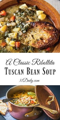 A Classic Ribollita: Tuscan Bean Soup Recipe - Italienische Gerichte - Irish Bean Soup Recipes, Healthy Soup Recipes, Vegetarian Recipes, White Bean Recipes, Healthy Hearty Soup, Celery Recipes, Vegetarian Barbecue, Vegitarian Soup Recipes, Recipes With Kale