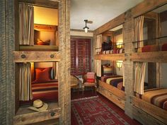 Cowboy Hangout  Rustic beams are used to create oversized bunk beds for this cowboy retreat. Southwestern-inspired bedding and area rug bring in earthy tones, while striped curtains hang from poles around each bed to provide privacy when needed