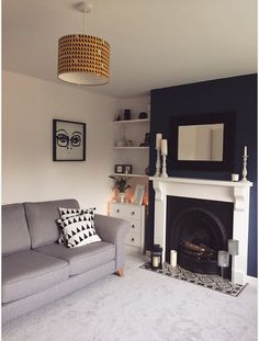 Living room blue, yellow and grey Cosy Grey Living Room, Mustard Living Rooms, Navy Living Rooms, Dark Blue Living Room, Blue Living Room Decor, Living Room Lounge, Cottage Living Rooms, Home Living Room, Blue Feature Wall Living Room