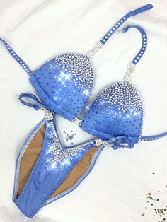 Beautiful shade of periwinkle embellished with clear, crystal AB, and light sapphire crystals Physique Competition, Bikini Competition Suits, Figure Competition, Npc Bikini, Push Up Bikini, Posing Suits, Figure Suits, Figure Poses, Periwinkle