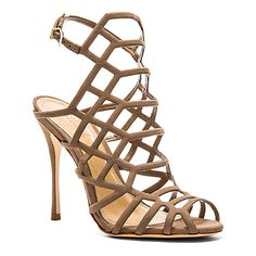 Schutz Juliana Heel Shoes ($190) ❤ liked on Polyvore featuring shoes, pumps, schutz footwear, schutz shoes, caged shoes, high heel pumps and schutz