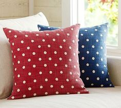 Polka Dot Pillow Cover #potterybarn - love the navy blue one