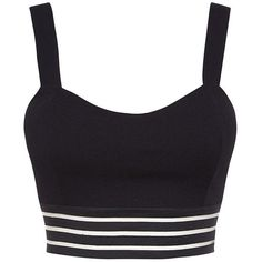 Black Stripe Mesh Bralet ($20) ❤ liked on Polyvore featuring tops, black mesh top, slimming tops, cocktail tops, holiday tops and black top
