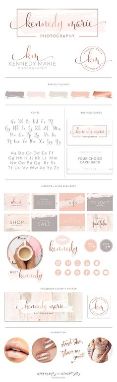Pre made branding kits are the perfect solution to polish your brand professionally, at a super affordable price! The are perfect for photographers, interior designs, event & wedding planners, small business and boutiques, makeup artists, bloggers and more.    watercolor logo, premade photography logo, wedding photographer logo, boutique branding, blush pink rose gold branding inspiration board, rose gold logo, blush pink grey watermark brush stroke logo, calligraphy logo