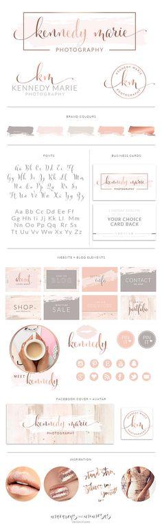 Rose Gold Photography Logo Branding Kit Blush Wedding