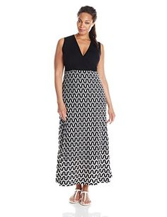 Karen Kane Womens PlusSize Crochet Maxi Dress BlackOff White 2X ** See this great product.(This is an Amazon affiliate link)