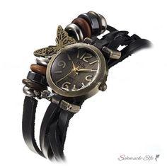Leder Armbanduhr Butterfly VINTAGE schwarz  im Schmuck...