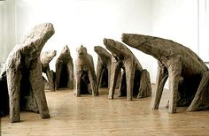 Magdalena Abakanowicz  SEATED MUTANTS  1996, burlap, resin  7 figures, each different  dimensions varying between  h. 126-145; l. 211-230 cm; w. 68-80 cm