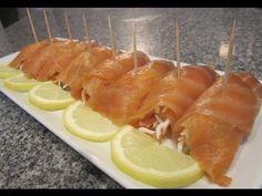 Rollitos de Salmón Marinado con Palitos de Cangrejo - YouTube