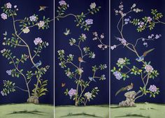 g+w collection :: chinoiserie du paqier panels, deep navy Handmade Wallpaper, Hand Painted Wallpaper, Chinoiserie Wallpaper, Chinoiserie Chic, Blue Green Rooms, Dressing Screen, Dressing Room, Japanese Wall, Room Screen