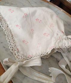 French baby bonnet w/sweet pink flowers  xo--FleaingFrance