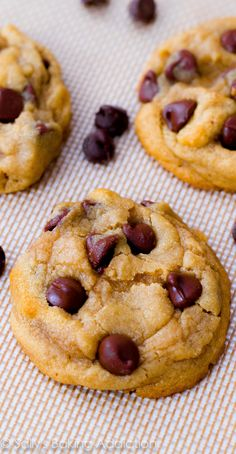 Soft-batch style chocolate chip cookies using a few tricks to make them extra thick and soft!