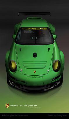 Porsche 911 997 RSR green by RibaDesign on DeviantArt Porsche 911 997, Porsche 2017, Porsche Sports Car, Audi, Bugatti, Maserati, Lamborghini, Ferrari, Supercars