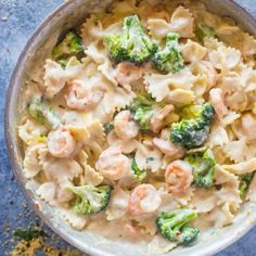 Skinny Garlic Shrimp & Broccoli Alfredo Pan seared garlic shrimp, broccoli and pasta tossed in creamy lightened up garlic alfredo sauce that contains no cream! Skinny alfredo is all the rage around here. Now, you can have your pasta with all Shrimp Broccoli Alfredo, Garlic Shrimp Pasta, Shrimp And Broccoli Scampi Recipe, Shrimp Meals, Alfredo Recipe, Alfredo Sauce, Sauce Recipes, Pasta Recipes, Prawn Recipes