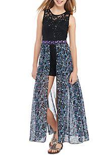 547fd7d7f14d Speechless Lace Floral Walk-Through Maxi Dress Girls 7-16 in 2019 ...