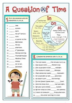 practice on the most common prepositions of time: in, or and at. The worksheet includes a chart so that the students can check and revise the content. Teaching English Grammar, English Worksheets For Kids, English Writing Skills, English Activities, English Language Learning, English Lessons, Vocabulary Activities, French Lessons, German Language