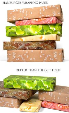 hamburger wrapping paper.... must have