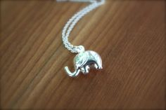Small Elephant Sterling Silver Necklace GOOD LUCK by yaniamor, $38.00