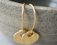 Cuelgan pendientes sólido 14 k oro pendientes 14 k oro pendientes, aretes de oro sólidos, aretes de oro, martillados pendientes oro elegante