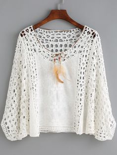 "White Round Neck Hollow Crop Blouse "" SheIn offers White Round Neck Hollow Crop Blouse & more to fit your fashionable needs. Crochet Skirts, Crochet Lace Dress, Crochet Blouse, Crochet Clothes, Knit Crochet, Cotton Crochet Patterns, Crochet Tunic Pattern, Crochet Cardigan, Lace Outfit"