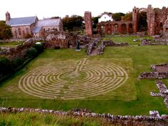 This labyrinth was a temporary structure burnt out from the grass within the walls of Lindisfarne Abbey and had been opened to the public for a week.  Scotland