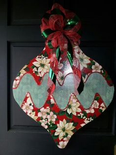 Poinsettia & Chevron. Christmas Ornament Wooden Door Hanger ... decoupaged with fabric
