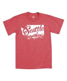 Heather Red Seattle Skyline State Outline Tee