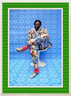 Joe Casely Hayford, as dressed and shot by artist Hassan Hajjaj (Cisco 2012 Metallic lambda print on dibond with wood and plastic mat frame) Marrakech, Andy Warhol, Memphis, Afro, Pop Art, African Art, African Prints, African Style, Portrait Pictures
