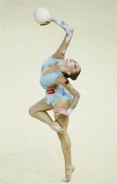 Melitina Staniouta of Belarus performs during the individual ball competition final at the 32nd Rhythmic Gymnastics World Championships in Kiev, Aug 28, 2013.