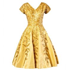 Pre-owned Vintage 1950s 50s Gold Yellow Hand-Beaded Couture Silk... (6.445 RON) ❤ liked on Polyvore
