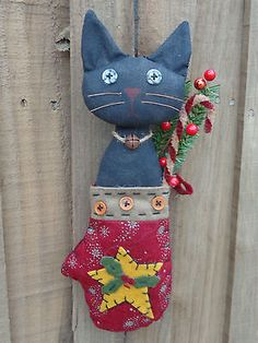 Primitive Country Grungy Black Cat Doll Mitten Star Candy Cane Berries Holiday   eBay
