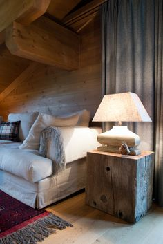Chalet Gsteig, Switzerland by Ardesia Design. Custom made textile accessories and unique wooden bedside table. Chalet Interior, Home Interior, Interior Decorating, Interior Design, Chalet Design, Chalet Style, Floor Design, House Design, Piece A Vivre