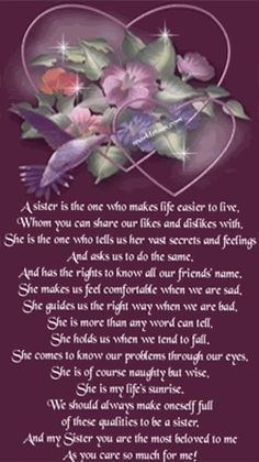 Birthday Poems For Sister In Heaven Sfb