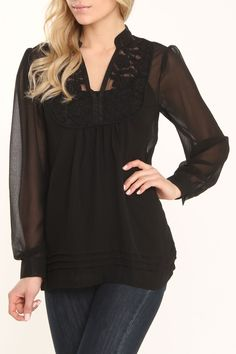 Black Sheer Lace Detail Top