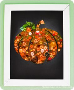 40 Fun Fall Crafts To Make With Your Kids Slideshow ~ Button Pumpkin With Tutorial: Frame your child's handiwork for shabby chic fall decor you can use every year. Fall Arts And Crafts, Easy Fall Crafts, Halloween Crafts For Kids, Crafts To Make, Fun Crafts, Holiday Crafts, Button Crafts For Kids, Shabby Chic Fall, Fall Art Projects