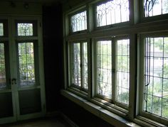The picture is not so good, but these windows are amazing. The leaves are done in green glass.