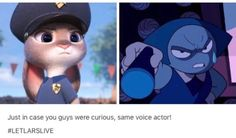 Actually aren't the same voice actress.judy hopps is voice acted by the same woman who acted for snow white in once upon a time Ginnifer Goodwin< you're right but IT IS TRUE! THe actress for Aqua IS Young Judy Hopps' sane lady Steven Universe Theories, Steven Universe Funny, Fandom Crossover, Zootopia, Homestuck, Cartoon Network, Disney Pixar, Rock, Nerdy
