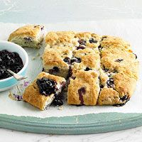 Blueberry Cream Biscuits with Blueberry Sauce...yummmm. Just read some of the reviews as it seems they need baked longer than recipe calls for. Enjoy!