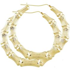 Large 10K Gold Round Hollow Doorknocker Bamboo hoop Earrings 3 inch... ($440) ❤ liked on Polyvore featuring jewelry, earrings, round gold earrings, hoop earrings, gold bamboo earrings, gold jewellery and yellow gold hoop earrings
