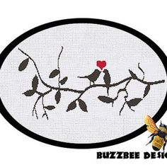 kissing birds - pdf cross stitch pattern - easy quick sillouette black red tree branch cute love - INSTANT DOWNLOAD