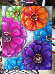 Colorful Mod Flower Painting 24×30 Acrylic/Mixed Media $125 See in store Product Description These large bold flowers will instantly brighten any room. For the flowers I used bright fuchsia pi…